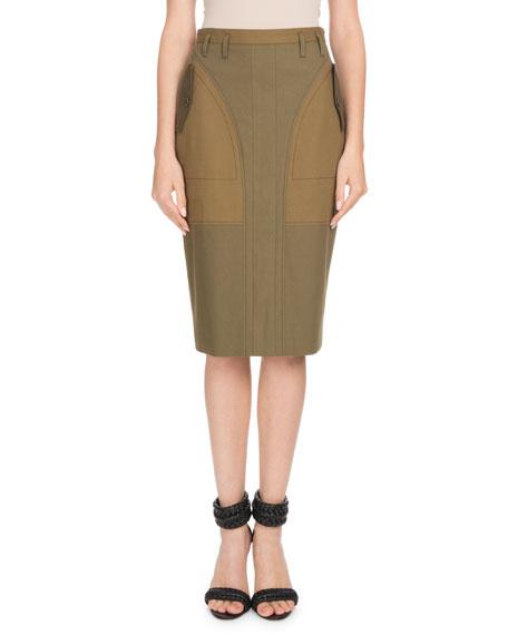 High-Waist Cotton Pencil Skirt w/ Pocket Detail