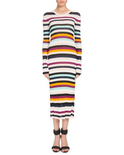 Crewneck Long-Sleeve Striped Ribbed Sweaterdress