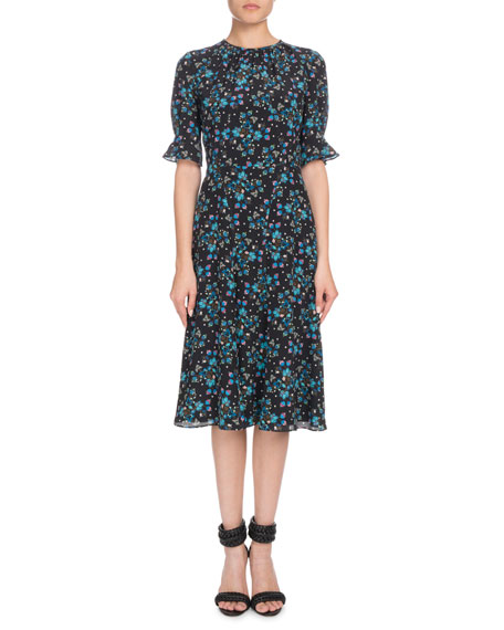 Short-Sleeve Floral-Print A-Line Silk Crepe De Chine Midi Dress in Black