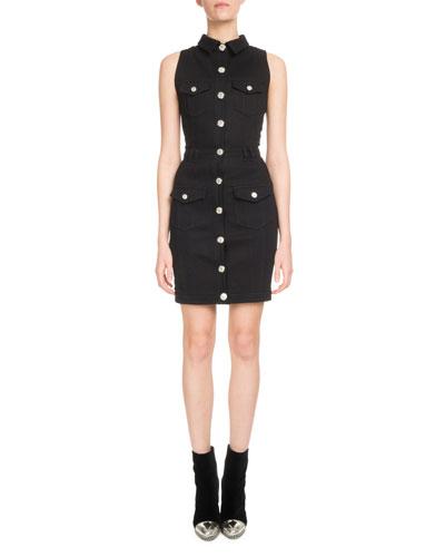 Sleeveless Button-Front Fitted Denim Dress