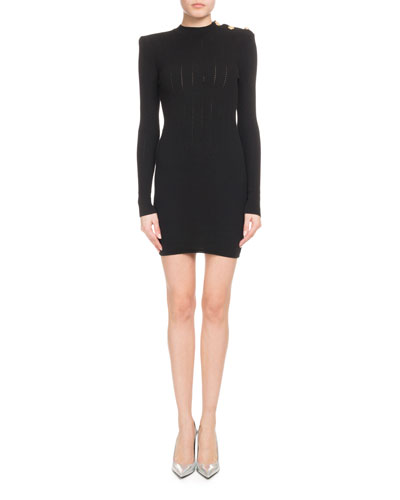 Long-Sleeve High-Neck Ribbed Dress with Shoulder Button