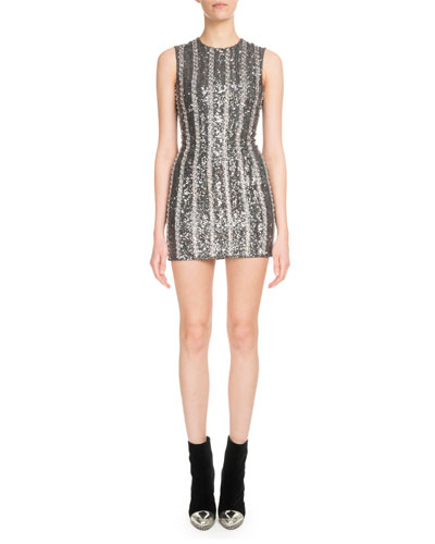 Jewel-Neck Sleeveless Striped-Sequin Mini Cocktail Dress
