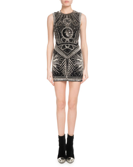 Sleeveless Space-Beaded Embellished Cocktail Dress, Black/Silver