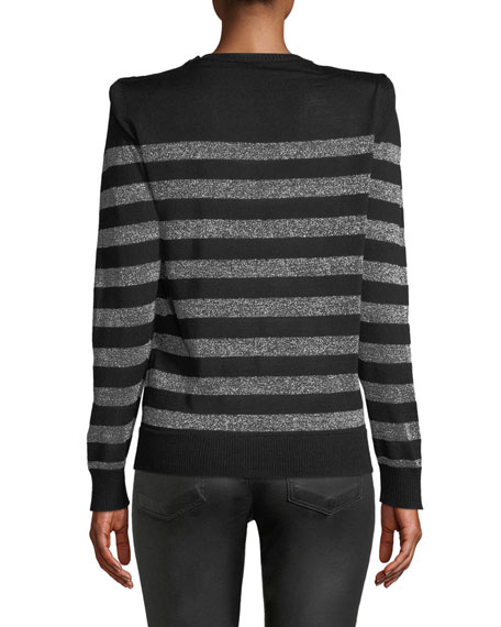 Crewneck Button-Shoulder Metallic-Striped Sweater