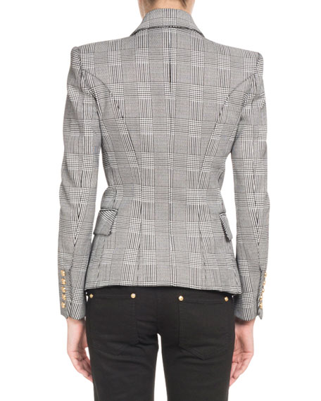 Double-Breasted Check Classic Blazer