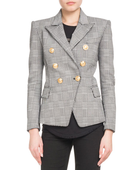 Prince Of Wales Checked Double Breasted Cotton-Blend Blazer, Black/White