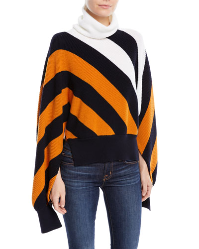 Turtleneck Diagonal-Stripe  Sweater with Slit Sleeves