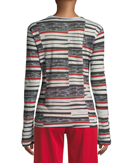 Crewneck Long-Sleeve Abstract Bold-Stripe Top