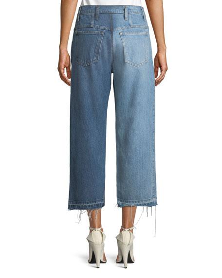 Split-Wash Mid-Rise Straight-Leg Cropped Jeans w/ Fray Hem