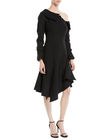 One-Shoulder Draped-Sleeve Wool-Blend Fit-and-Flare Dress