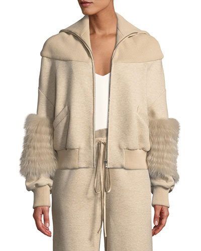 Zip-Front Dropped-Shoulder Cotton Jersey Bomber Jacket w/ Fox Fur