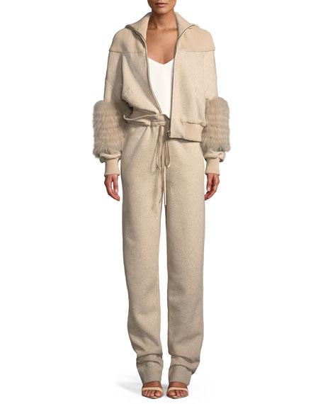 Paperbag-Waist Drawstring Cotton Jersey Pants