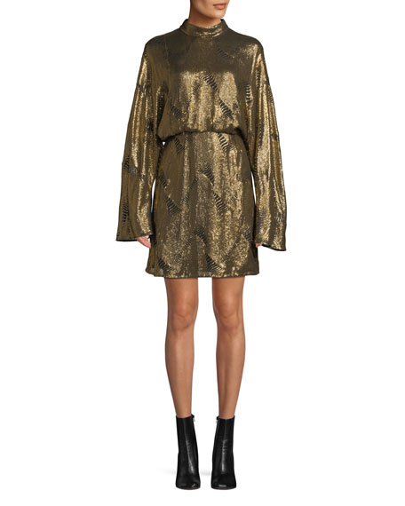 Sally Lapointe Mock-Neck Long-Sleeve Stitched-Sequins Mini Dress, GOLD