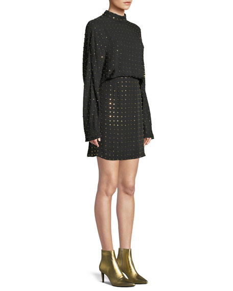 Long-Sleeve Golden-Stud Silk Mini Dress