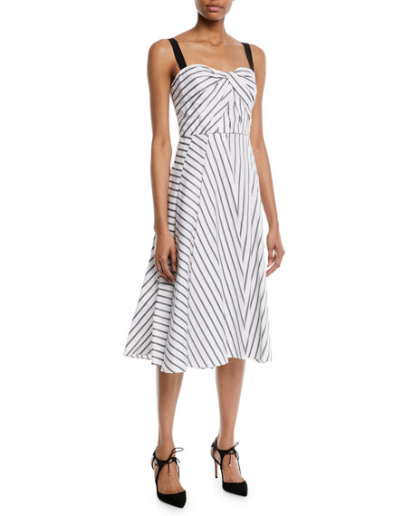 Sleeveless Twist-Front Fit-And-Flare Striped Cotton Midi Dress, White/Black