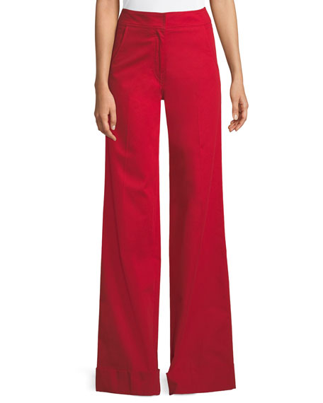 Derek Lam Flat-Front Wide-Leg Cuff Stretch-Cotton Trousers