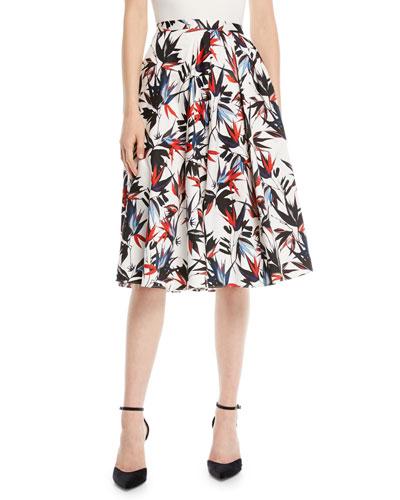 A-Line Floral-Print Knee-Length Cotton Skirt