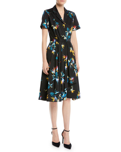 Short-Sleeve Button-Down Floral-Print Cotton Poplin Shirtdress