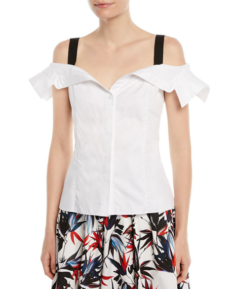 Cold-Shoulder Grosgrain-Trimmed Cotton-Poplin Top, White