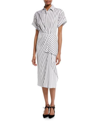 Short-Sleeve Stripe Cotton Poplin Shirtdress