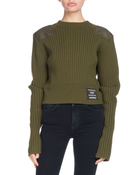 PSWL Crewneck Long-Sleeve Cropped Ribbed Wool-Blend Sweater w/ Patches