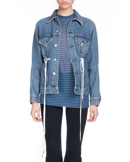 Button-Down Denim Jacket w/ Shoelace Ties