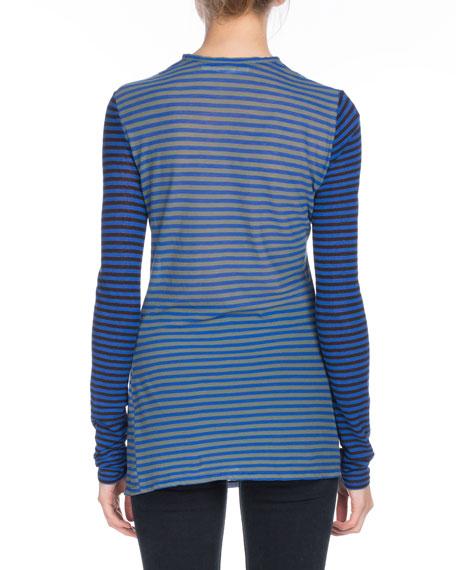 PSWL Crewneck Long-Sleeve Striped Jersey Top