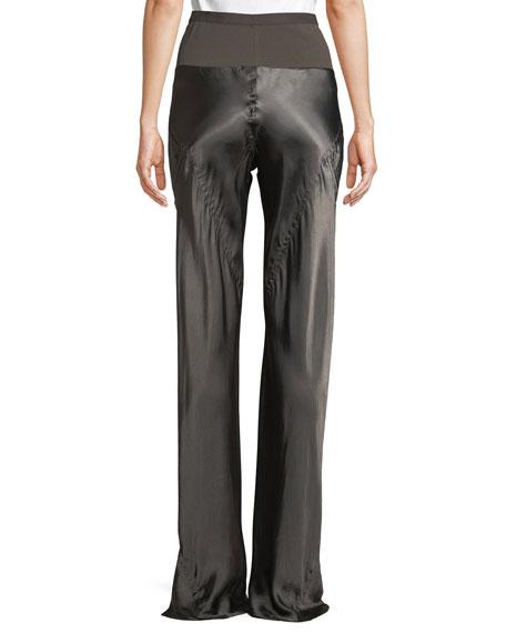 Silk Shiny Bias Straight-Leg Pants