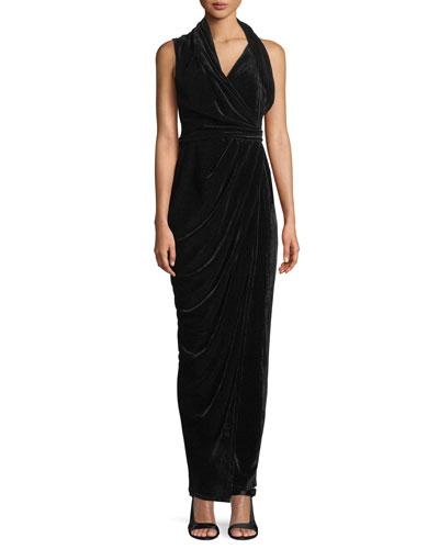 Sleeveless Draped Wrap Velvet Long Dress