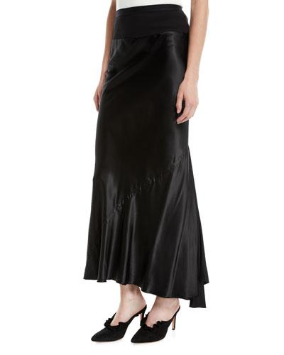 Ribbed-Waist Bias Seam Satin Ankle-Length Skirt