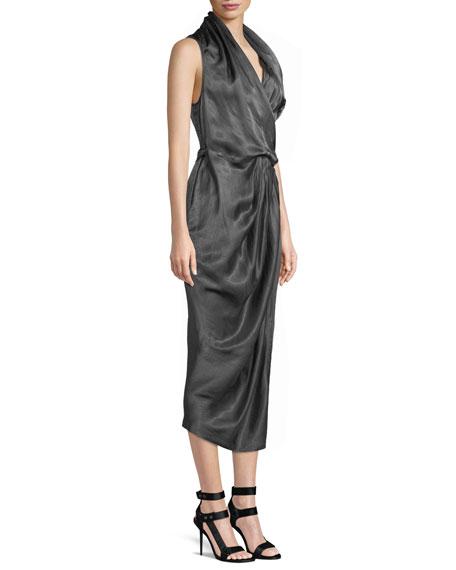 Sleeveless Shiny Silk Wrap Midi Dress