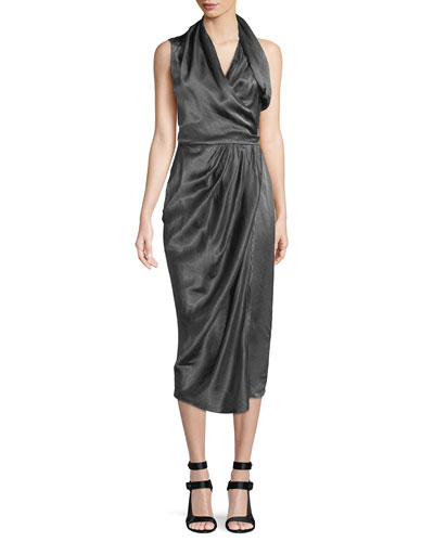Sleeveless Shiny Silk Wrap Midi Dress