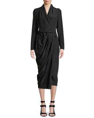 Long-Sleeve Silk Crepe Wrap Midi Dress