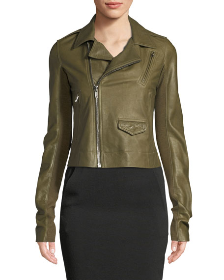 Zip-Front Lamb Leather Biker Jacket