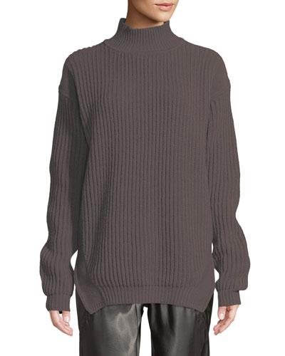 Turtleneck Long-Sleeve Fisherman Pullover Wool Sweater