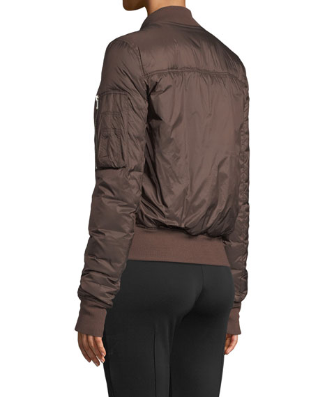 Zip-Front Shiny Puffer Bomber Jacket