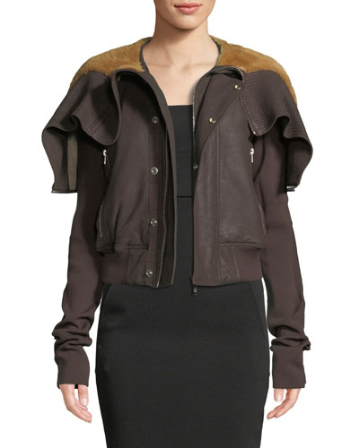 Zip-Front Raisin-Knit Lamb Leather Jacket w/ Shearling Fur