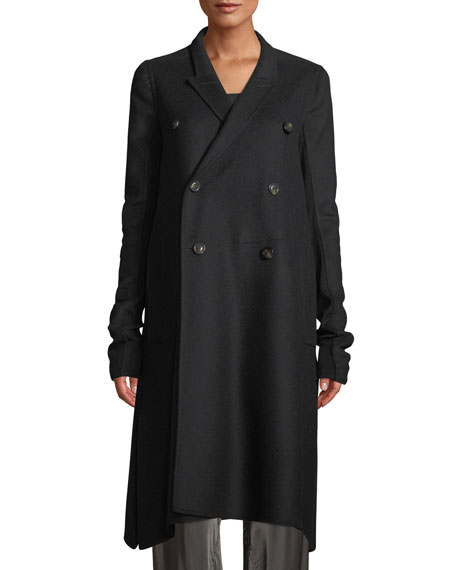 DOUBLE-BREASTED A-LINE WOOL PEA COAT