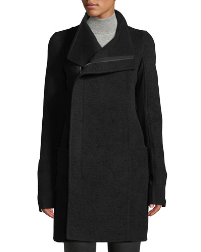 Eileen Side-Zip Double-Breasted Cashmere Coat