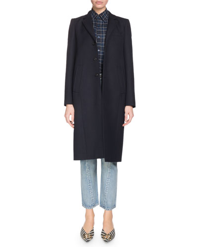 Single-Breasted Three-Button Knee-Length Wool Coat