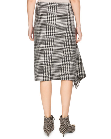 Prince of Wales Houndstooth Draped Wool Skirt with Fringe