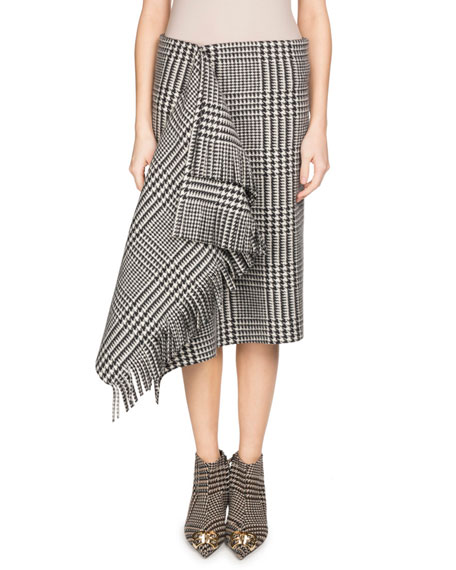 Prince Of Wales Houndstooth Draped Wool Skirt With Fringe in Black