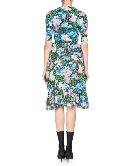 Elbow-Sleeve Floral-Print Fit-and-Flare Dress