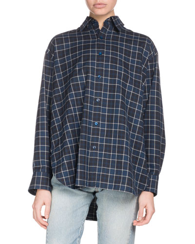 Gathered-Back Button-Front Plaid Cotton Shirt