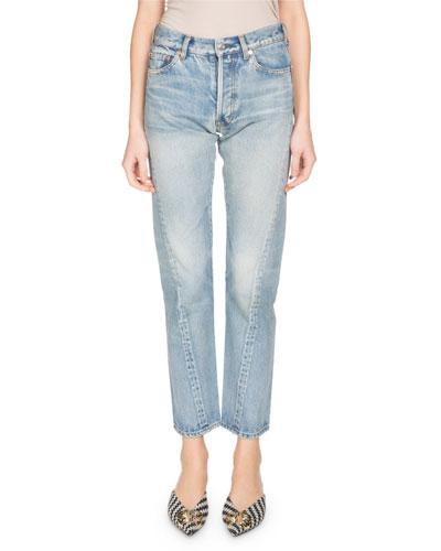 Twist-Hem Straight-Leg Jeans