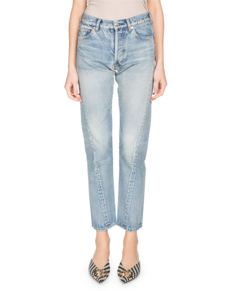 Twist-Hem Straight-Leg Jeans