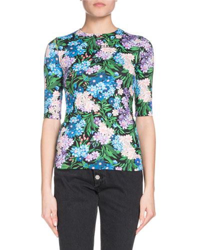 Elbow-Sleeve Floral-Print Jersey-Stretch Top