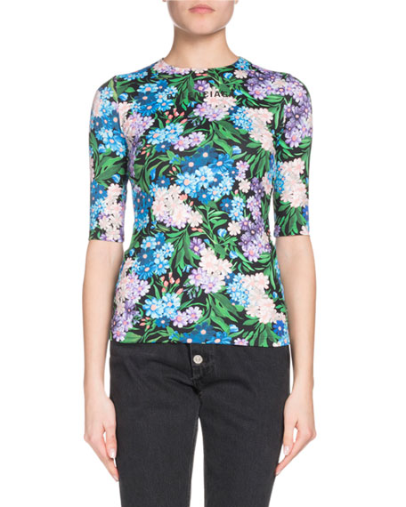 Elbow-Sleeve Floral-Print Jersey-Stretch Top, Blue/Purple