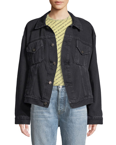 Button-Front Denim Swing Jacket