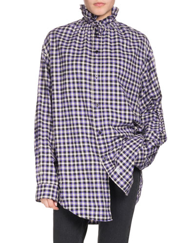 Ruffled-Collar Button-Front Long-Sleeve Gingham-Check Cotton Shirt